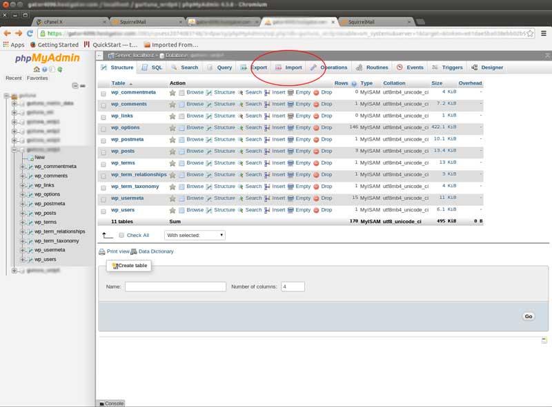 Importing SQL in phpMyAdmin